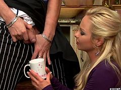 During shooting of cooking TV show, young cook hooks up with a mesmerizing mature TV host. He mauls her steamy body from behind before her pisses in a bowl, which she holds in her hand. Later she gives him a rapacious blowjob in perverse sex video by Tainster.