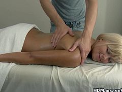 He massages her palatable body and after thrusts his playful tongue between her buns.He likes the taste of her cunt and after enjoys her hell working mouth hole.