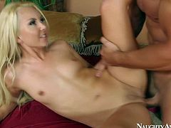 Pretty slim blonde Aaliyah Love with small boobies and long hair gives head to ass licking stud Johnny Castle with muscled body and gets fucked hard all over the place