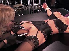 Horny lesbian milfs are having intense pleasure masturbating one another in dirty femdom