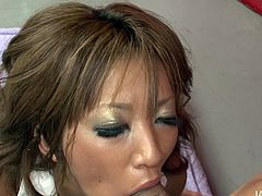 Curly smiling Asian chick has too heavy makeup. She jams her tits while riding a cock. Booty chick bends over then, cuz she thirsts to get her wet cunt polished doggy. Be sure to gain dozen of delight with this surely awesome Jav HD sex clip.
