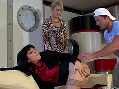 Torrid brunette and blondie are both experts in giving a stout blowjob for cum. Ardent chicks smack asses while jumping on the tool one after another. While horny blondie is busy with sucking a dick, black head fingers her wet pussy passionately.