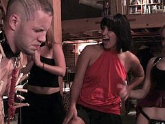 Horny sluts give hard punishment during intense fucking hardcore scene with young hunk