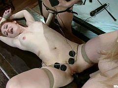 Slender blond bitches are abusing a sassy brown haired slave