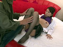 Insatiable daddy hooks up with a fresh faced Japanese cutie in seductive purple lingerie and stockings. He kisses her lips with passion before getting to her hairy pussy for intensive finger drill and tongue fuck.