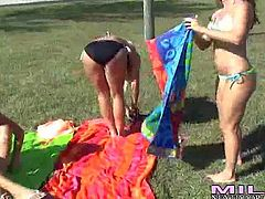 Kristen Cameron and her lusty friends enjoy in playing with ball outdoor and get really lusty for a hot lesbian sex indoors, so they occupy the living room