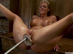 Her lover and fucker this time is a powerful fucking machine. Babe rubs her body with oil and then gets on that machine, which fucks her ass and twat!