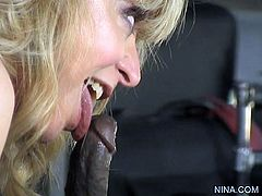 Blonde milf gets wild when feeling black meat stroking her juicy vag and tight ass