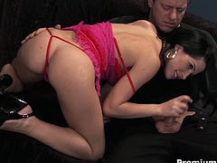 Rapacious daddy calls up an arousing brunette prostitute in steamy pinkish bikini. She gives him a blowjob before getting banged in missionary, doggy and sideways poses until aroused daddy ejaculates on her pretty face.