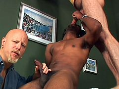 These two white gay guys are going to have some interracial fun and try their hand at sucking big black dick. One guy gets sat on by the black dude while the other takes photos and blows his dick. They the back gay sucks cock, too.