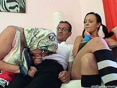 Being a fan of extreme, horny daddy calls up a horny grandma and a spoiled brunette whore. Filthy granny mouth fucks his strain dick with her toothless mouth before a young slut proceeds to giving him a head in perverse threesome sex clip by Pack of Porn.