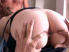 Two guys please Alice Ozawa's delicious hairy cunt with their hands and tongues. Babe gets her dirty asshole licked as well.