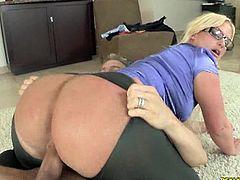 Julie Cash shows off her juicy big ass and starts bouncing on his massive cock. This big booty can't get enough of the stiff meat!