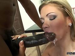 This smoking hot and desirable blond honey Bibi Noel is so fucking hot! She gets down on that huge cock and starts sucking it deep so that it will go hard in her asshole.