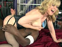 Horny blonde milf enjoys dirty hardcore interracial sex along horny hunk