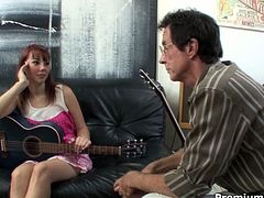 This charming babe Delila Darling gives her guitar teacher a hot blowjob in 69 position. Then he pounds her mercilessly in and out, loosening up her once tight pussy.