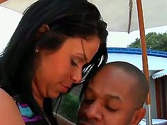 Kid Jamaica pulls out his pole to fuck Mature honey Kelly with phat booty in the ass after she takes it deep down her throat