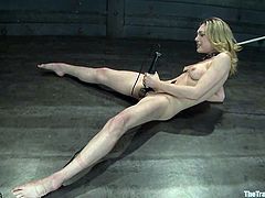 Hot blonde girl gets tied up and gagged with a ball gag. Then she also gets fucked with a fucking machine. The guy also fixes pumps to her boobs.