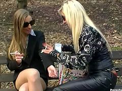 Slim blondies are horny women in black. Ardent chicks are in the park. Horny gals go nuts, pour milk onto the bodies, without undressing and giggle while jamming tits. Well, you just need to see these weird but hot girlies in Tainster sex clip.