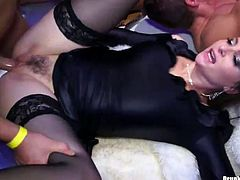 Insatiable white half-naked hoes in steamy stockings bend down to get fucked in doggy pose, while other hussies get fucked in missionary style in steamy group sex video by Tainster.