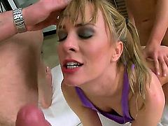 Blonde Blue Angel displays her naughty bits as she gets her eager pounded good and hard by horny as hell guy