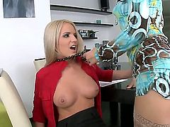 Blonde Brittany Spring is too hot to stop lesbian love session with pussy-hungry Blue Angel