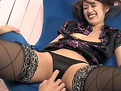 Stunning japanese nurse gets horny and eager to ride her hairy cunt over this huge dick