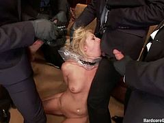 See the nasty blonde Zoey Monroe getting all her holes fucked and her mouth stuffed with cock in a crazy gangbang with five dicks.