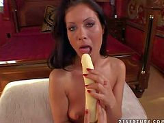 Fit black haired babe with natural boobs and delicious ass spreads long legs and fingers shaved tight honey pot to prepare herself for huge rubber dildo at her first interview