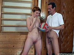 Rapacious overaged coach pounds a sextractive red-haired milf in doggy pose before switching to sideways position until he ejaculates on her pubis in sultry sex video by Pack of Porn.