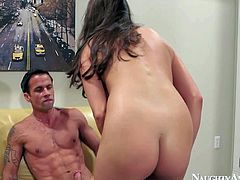 Teal Conrad is a lovely long legged brunette with natural tits. She is sex hungry and gievs it to Alan Stafford. Babe in stockings gets her tight shaved pussy licked and then fucked.
