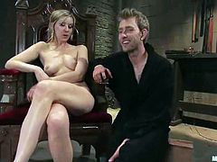 Stunning blonde chick ties Dean Strong up and shoves a dildo in his ass. After that she also drills his ass with the strap-on.