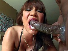 Experienced asian woman Ava Devine gets her mouth destroyed big black monster cock. Exotic milf takes rock hard chocolate dick as deep as possible in her mouth. Shes a sloppy gagger.