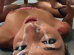 Serena Sinn has her face completely covered in cum