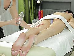Teen with alabaster skin undergoes a massage which soon turn sexual when her vagina is finger-probed then prick-probed by the masseur who also gets his cock sucked then provide his own cock juice to her face.