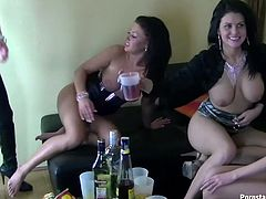 Slutty brunette teen stands in doggy pose while getting poked from behind in front of two other hoes that drunk hard in perverse group sex video by Tainster.