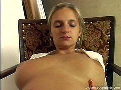 Busty blond students stands in front of insatiable daddy while getting her oversized tits oral stroked before he gets to her fresh pinkish cunt for a tongue fuck in steam sex video by Pack of Porn.