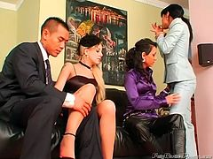 Home party turns into a super hot foursome with awesome slim nymphos