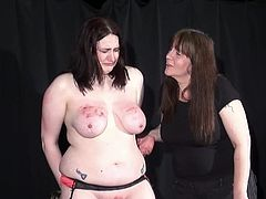 Brutal lesbo sadism and x-rated snapping of heavy Learner slavegirl Alyss inside hellpain whipping a