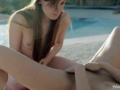 Maria Pie and Rossy Bush are two young lesbian goddess with sexy slender bodies. They strip naked by the pool and then give pleasure to each other. Skinny temptress spreads her legs invitingly and gets lesbian pleasure in the open air.