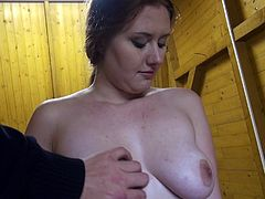 For money this cute redheaded doll is willing to get nasty. She and her new partner get off the street and find a secluded room hidden away from prying eyes. He pulls down her jeans and fucks her hard from behind.