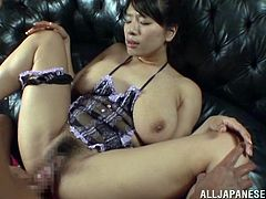 Sexy Japanese chick in lingerie shakes her her hot ass and gets toyed with a vibrator. After that she gives deepthroat blowjob and gets fucked hard.