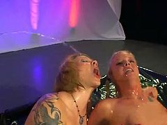 Two nasty blondes gets super nasty in this hot threesome video. They lick each others' pussy, suck cock, fuck and drink pee.