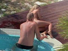 Slender pretty blonde hottie with natural boobs and long legs gets her shaved minge fucked balls deep by her neighbor in close up by the pool on a sunny day