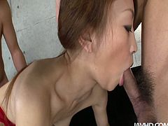 Jav HD sex clip provides you with a chestnut slut from Japan. This harlot with small tits is expert in both blowjob and handjob. I just envy lucky dudes, cuz they've got a chance to drill her hairy pussy doggy while having this hot threesome.
