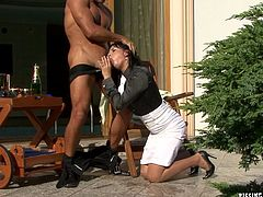 Beefy dude proposes to his long-term girlfriend during a romantic dinner outdoors. She accepts the ring and decides to thank him with a steamy blowjob before he takes her from behind in doggy style.