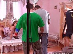 Arousing and hot blonde pornstar gets nailed hard and good in the bedroom on the bed in front of the camera in a doggy style pose in a night gown