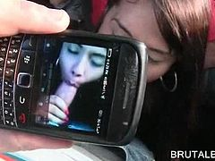 Nasty latina nymph licking and sucking monster cock in the bus