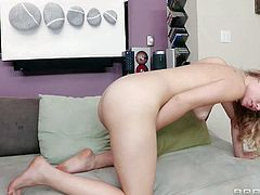Young looking attractive slim lesbian hotties Angelica Saige and Charlee Monore lick each others shaved minges to loud orgasms and play with gigantic strap on on a lazy afternoon