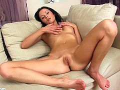This brunette can hardly keep her hands off herself. All it takes is to get the camera rolling and tell her to strip, and she immediately has a hand rubbing her pussy.